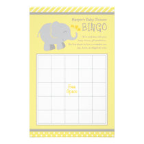 Elephant Baby Shower Bingo Cards | Yellow and Gray