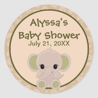 ELEPHANT Baby Shower blank label/seal Nali NJE#04B Stickers
