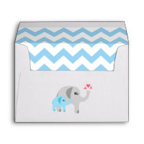 Elephant Baby Shower Blue and White Envelope