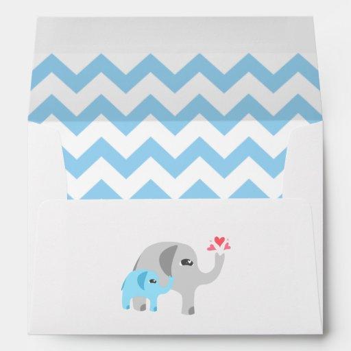 elephant baby shower blue and white envelope zazzle