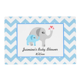 Elephant Baby Shower Blue and White Placemat
