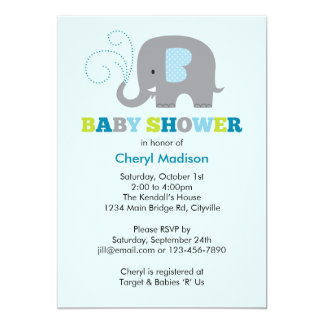 Elephant Baby Shower - Blue Card