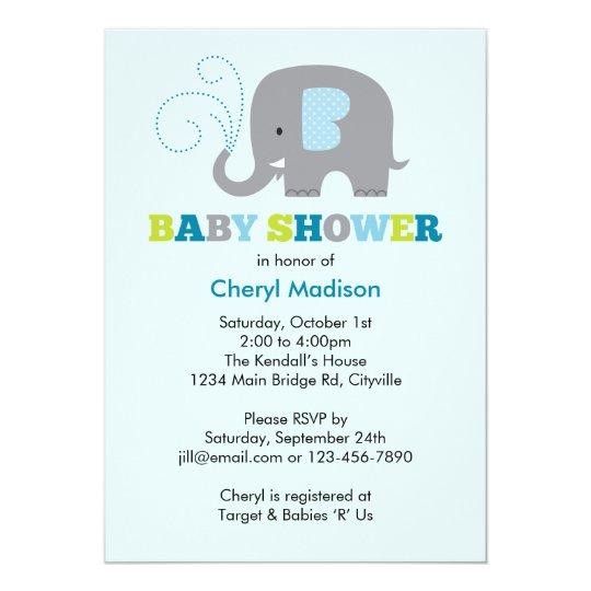 Elephant Baby Shower - Blue Card