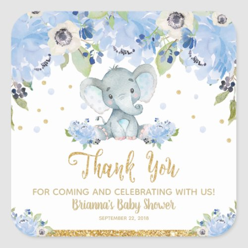 Elephant Baby Shower Blue Floral Thank You Favor Square Sticker