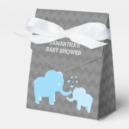 Elephant Baby Shower Blue Grey Tent Favor Box
