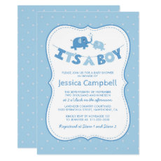Elephant Baby Shower | Blue Its a Boy Invitation