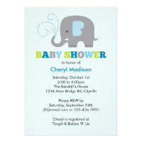 Elephant Baby Shower - Blue Personalized Invite