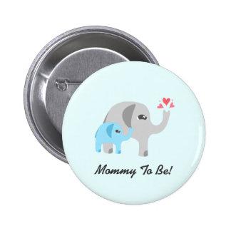 Elephant Baby Shower Blue Pinback Button