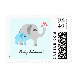 Elephant Baby Shower Blue Postage Stamp