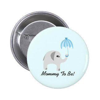 Elephant Baby Shower Blue Umbrella Pinback Button