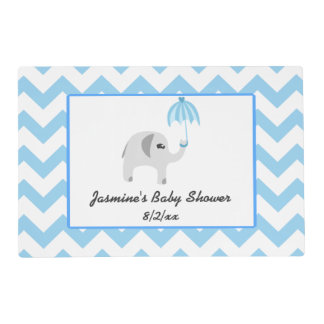 Elephant Baby Shower Blue Umbrella Placemat