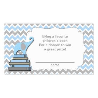 Elephant Baby Shower book raffle tickets blue Business Card