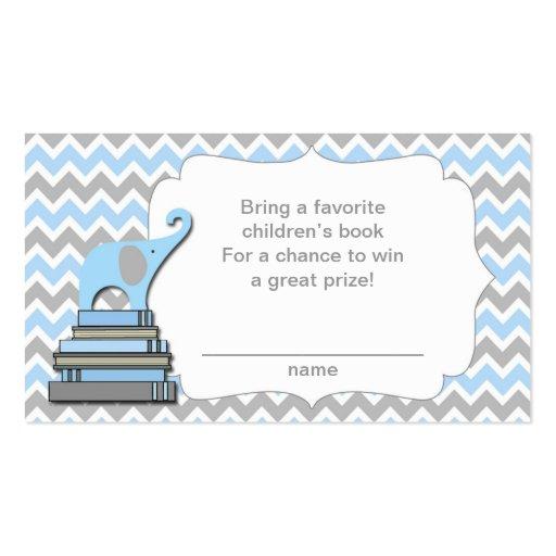 Elephant Baby Shower book raffle tickets blue Business Card | Zazzle