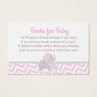 Elephant Baby Shower Bring a Book Card Pink Gray