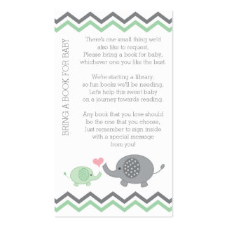 Elephant Baby Shower Bring a Book Insert | Green Business Card