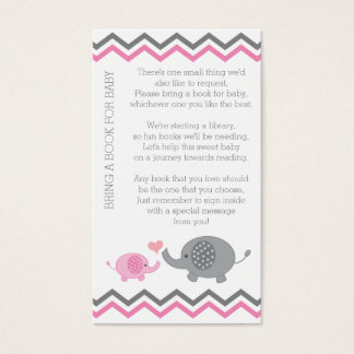 Elephant Baby Shower Bring a Book Insert Pink Girl
