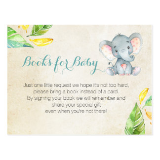 Elephant Baby Shower - Bring a book insert Postcard