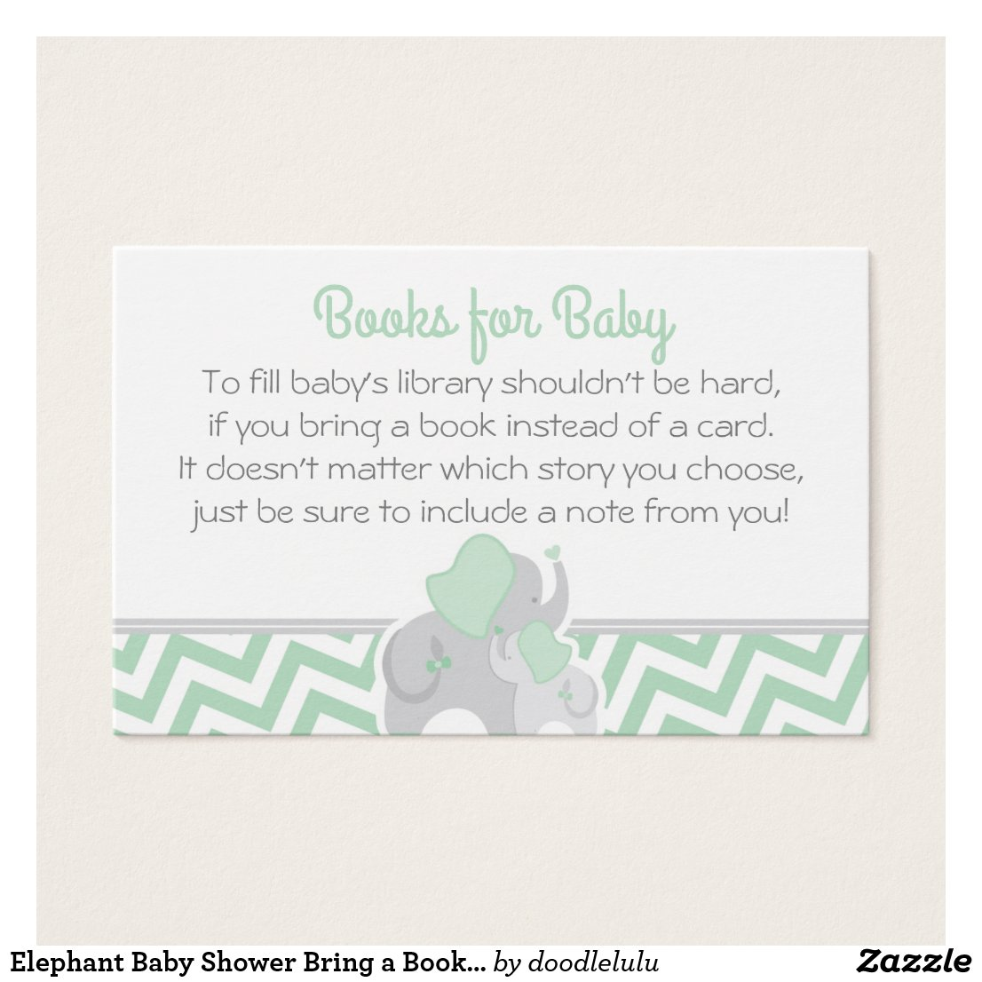 Elephant Baby Shower Bring a Book Mint Green Gray