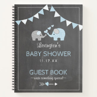 Elephant Baby Shower Chalkboard Look Guest Book |