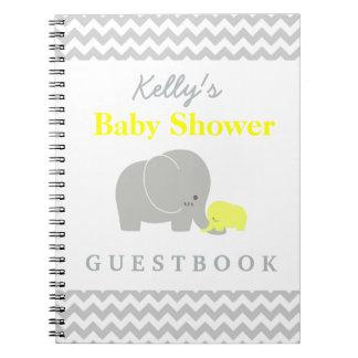 Elephant Baby Shower Chevron Custom Guest Book Notebook