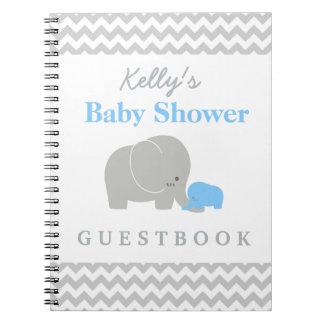 Elephant Baby Shower Chevron Custom Guest Book Spiral Notebook