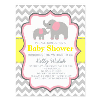 Elephant Baby Shower Chevron Invitation Postcard