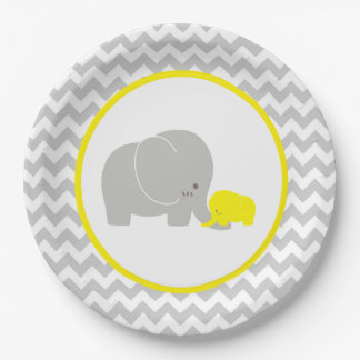 Elephant Baby Shower Chevron Paper Plate