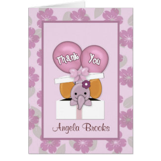 ELEPHANT Baby Shower CJ Orchid Thank You Note Card
