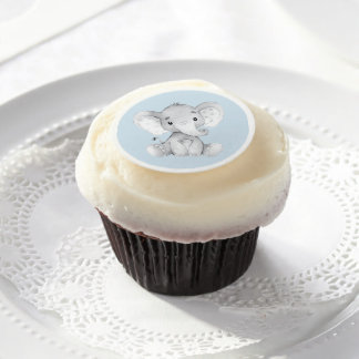 Elephant Baby Shower Cupcake Frosting Round