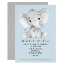Elephant Baby Shower Diaper Raffle Ticket Invitation