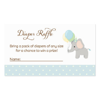 Elephant Baby Shower Diaper Raffle Tickets Business Card