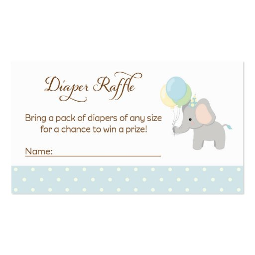 Elephant Baby Shower Diaper Raffle Tickets Business Card | Zazzle