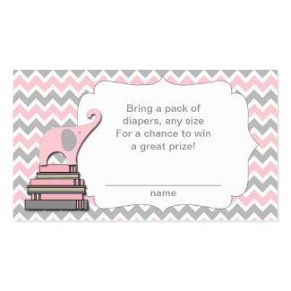 Elephant Baby Shower diaper raffle tickets pink
