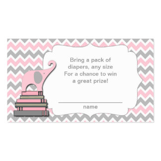 Elephant Baby Shower diaper raffle tickets pink Double-Sided Standard Business Cards (Pack Of 100)