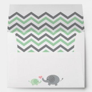 Elephant Baby Shower Envelope Green Gray Chevron