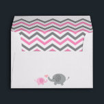 """Elephant Baby Shower Envelope Pink Gray Chevron<br><div class=""""desc"""">This adorable elephant baby shower invitation envelope coordinates with my matching elephant baby shower invitations and is perfect if you are throwing a baby shower. (Yay, a little peanut is on the way!). Featuring a fun chevron pattern and girly gray and pink. Perfect for the new mom having a little...</div>"""