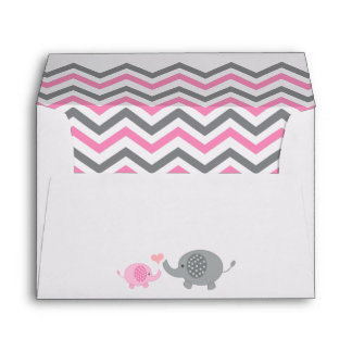 Elephant Baby Shower Envelope Pink Gray Chevron