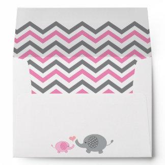 Elephant Baby Shower Envelope Pink Gray Chevron