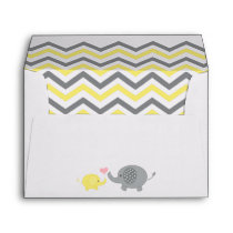 Elephant Baby Shower Envelope Yellow Gray Chevron
