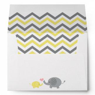 Elephant Baby Shower Envelope Yellow Gray Chevron