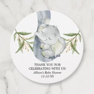 Elephant baby shower gender neutral favor tags