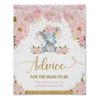 Elephant Baby Shower Girl Advice for Mom to Be Poster