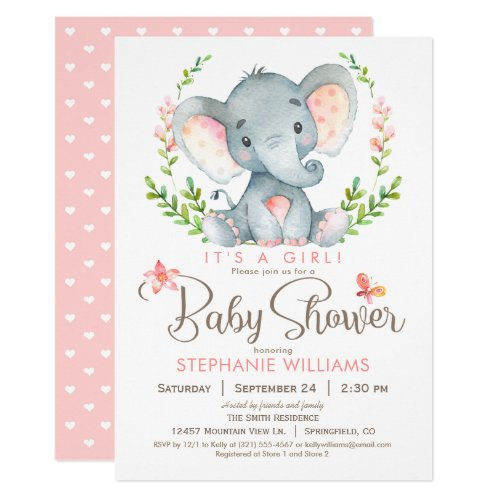 Elephant Baby Shower, Girl Invitation