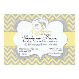 Elephant baby shower yellow gray invitations announcements zazzle elephant baby shower in chevron yellow and gray card filmwisefo Choice Image
