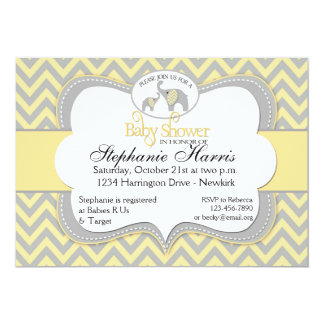 Elephant Baby Shower in Chevron Yellow and Gray Card