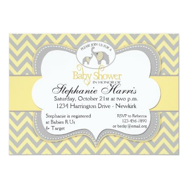 Toddler & Baby themed Elephant Baby Shower in Chevron Yellow and Gray Card