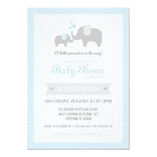 Elephant Baby Shower Invitation - Blue