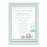 Elephant Baby Shower Invitation- Blue and Gray