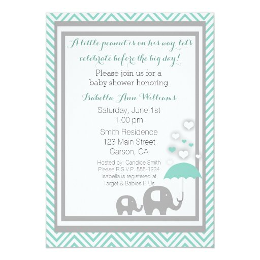 elephant baby shower invitation blue and gray zazzle