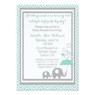 Elephant Baby Shower Invitation- Blue and Gray Card